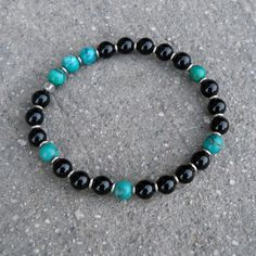 communication and patience Turquoise and onyx mala by lovepray, $39.00