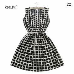 2016Summer Dress Vestidos Printed Casual Woman O-Neck Sleeveless Dress Plus Size clothing