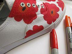 DIY Marimekko Inspired Sneakers made with Sharpies