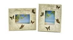 Caffco International Butterfly Home Picture Frames, Holds 4 by Photos, Set of 2 Home Pictures, House Warming, Picture Frames, Hold On, Blessed, Butterfly, Amazon, Gifts, Home Decor