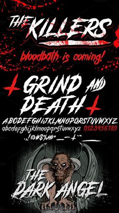 Introducing - GRIND and DEATH Typeface - Special font perfect for Brutal and Heavy illustrations and music. Perfect to your band logo, posters, tours,cds etc. Metal Font, Horror Font, Globe Logo, Gothic Fonts, Uppercase And Lowercase, Band Logos, Death, Typography, Artist