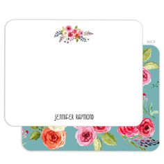 White Floral Bunch Flat Note Cards