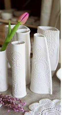 Ötletes Blog: Hidegporcelán gyurma recept és csináld magad csipkemintás váza