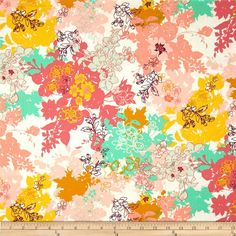 Art Gallery Summerlove Daydreaming Sunshine from @fabricdotcom  Designed for Art Gallery, cotton print is perfect for quilting, apparel and home decor accents. Art Gallery Fabric features 200 thread count of finely woven cotton. Colors include honey, yellow, aqua green, plum, rose and blush.