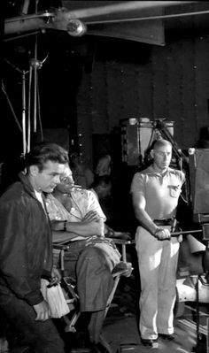 James Dean and Nicholas Ray on Rebel soundstage.