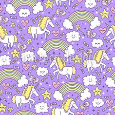 Magical Night Vector Pattern by Inna Koroleva at patterndesigns.com Vector Pattern, Pattern Design, Magical Unicorn, Mythical Creatures, Fairytale, Doodles, Kids Rugs, Rainbow, Clouds