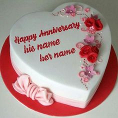 anniversary cake images. online wishes happy Anniversary with your name cake. Happy Anniversary Hearts Cake With Name.