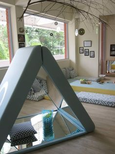 The mirror sides in the teepee are perfect for an infant/toddler room. Infant Toddler Classroom, Toddler Play, Toddler Learning, Classroom Design, Classroom Decor, Reggio Emilia Classroom, Montessori Classroom, Childcare Rooms, Preschool Decor