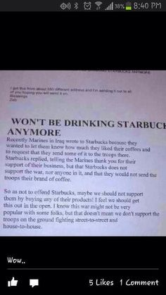 Looks like starbucks enjoys  their freedom but not God or the people who made it possible!  I haven't supported them in a while...and this is another reason I'm glad I don't & will never support them!  I BOYCOTT STARBUCKS