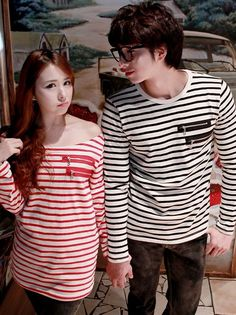 Korean Style Stripes Cotton Long Sleeve Couple Shirt