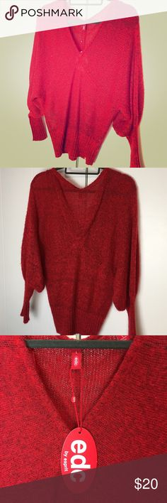 Red batwing sweater size L. EDC by ESPRIT Bright red, roomy, batwing sweater. Open weave (might want to wear a cami underneath). Super cute. New with tags! Esprit Sweaters V-Necks