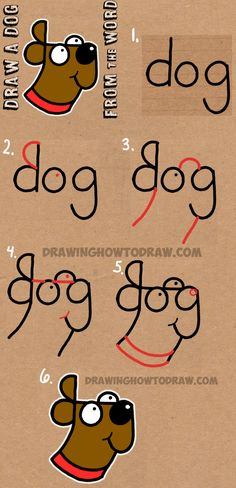 How to Draw a Dog from The Word Dog – Easy Step by Step Drawing Tutorial for Kids Cómo dibujar un perro de The Word Dog – Tutorial de dibujo fácil paso a paso para niños How To Draw Steps, Learn To Draw, How To Draw Kids, What To Draw Easy, How To Draw Art, Easy Stuff To Draw, Simple Things To Draw, Learning To Draw For Kids, Learn Art