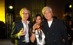 Maria Luisa Poumaillou with husband Daniel and Masaaki Ogino, founder of Citysuper, at the MO Bar of the Landmark Mandarin Oriental hotel in Central following the presentation of her 2006-07 autunm/winter collection.