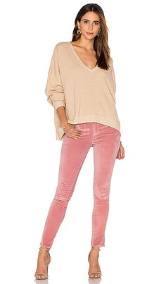 Frankie Velveteen Skinny in Dusty Pink With a Peach Sweater