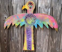 "Whimsical HandPainted Primitive Wooden Thunderbird Sculpture ""Fly"". Colorful, Unique Folk Art, Outsider Art, Garden Totem Wall Decor. - pinned by pin4etsy.com"