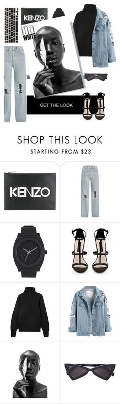 """""""Denim black []"""" by kallimanis ❤ liked on Polyvore featuring Kenzo, 3x1, Nixon, Forever New, The Row and Recover"""