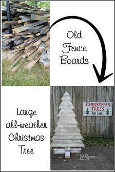 old fence boards into large all weather Christmas tree Making a pallet Christmas tree is easy, even if you don't have pallet wood. I used reclaimed fence boards to make this indoor outdoor Christmas tree. Pallet Christmas Tree, Outdoor Christmas, Christmas Projects, Christmas Diy, Rustic Christmas, Xmas, Christmas Weather, Creative Christmas Trees, Christmas Decorations