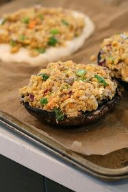 Vegan Richa: Portabella Mushrooms stuffed with Herbed Chickpeas. Vegan Recipe