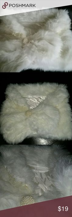 "Winter White Cape High Quality faux fur just in time for holiday photos or parties. No stains.  EUC. worn once for a photo. 42"" around. Jackets & Coats Capes"