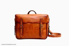 Tộc | Leather: Tộc Leather 68 - Vintage Light Brown Leather Mail Bag/ Backpack/ Messenger Bag....