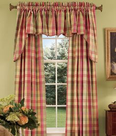 country curtains | ... Moire Plaid Princess Swag - Country Curtains® traditional curtains