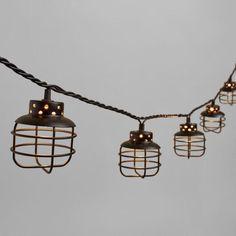 Black Metal Cage 10 Bulb String Lights
