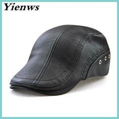 Yienws Winter Boina Masculina Black Pu Leather Beret Cap For Men Baret Flat Cap Vintage Casquette Plate Men Hats And Caps YIC540