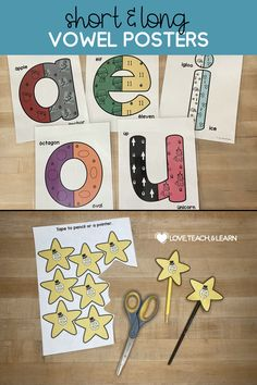 These Long and Short Vowel Posters provide a visual aid for students to recall both long and short vowel sounds. Use these activities to introduce the long vowel sound in CVCe words. Hang them on the wall as a reference. Discuss the pictures and the colors that represent the different sounds on each poster. Have students color in the black and white posters. Cut out each Magic E Star and tape them to a pencil or a pointer for introducing long vowels in CVCe words. Phonics Rules, Kindergarten Phonics, Phonics Lessons, Spelling Activities, Teaching Phonics, Phonics Worksheets, Teaching Resources, Teaching Ideas, Teaching Calendar