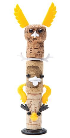 monkey business adds corkers totem kit to animal + robot series by reddish studio Projects For Kids, Diy For Kids, Craft Projects, Crafts For Kids, Monkey Business, Animal Robot, Wine Corker, Cork Art, Wine Cork Crafts
