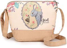 fe28deaf6 Crest Design Cute Canvas Crossbody Bag Shoulder Bag Purse for Girl and  teenage (Almond Rabbit)