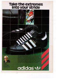 This is an original print advertisement from Product advertised: Adidas Gripper shoes Vintage Sport, Vintage Ads, Best Ads, Old Ads, Best Brand, Adidas Sneakers, Advertising, Museum, Football