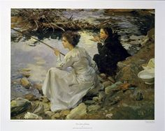 "Two Girls Fishing by John Singer Sargent | 24 x 30"" print 