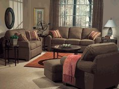 Flexsteel Thornton couch, loveseat, chair and ottoman