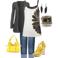 black and yellow - Polyvore
