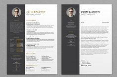 Simple, Clean & Elegant Resume/CV template to help you land that great job. All artwork and text is fully customisable; Easily edit the typography, wording, Best Resume Template, Cv Template, Creative Resume Templates, Design Templates, Resume Cv, Resume Tips, Resume Writing, Resume Examples, Business Brochure