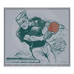 Retro 1930s drawing table tennis poster (our remake from a 1930s ad)