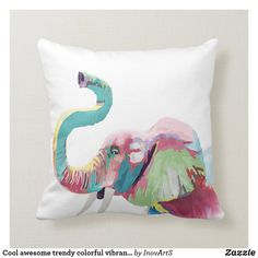Shop Cool awesome trendy colorful vibrant elephant throw pillow created by InovArtS. Elephant Throw Pillow, Throw Pillows, Bright Purple, Red Coral, Blue Yellow, Aqua, Animal Paintings, Custom Pillows, Dinosaur Stuffed Animal