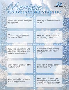 Marriage Conversation Starters | Family Minute