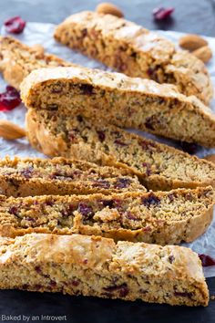 Cherry Almond Biscotti Recipe | bakedbyanintrovert.com @introvertbaker Yield- 25-30 biscotti
