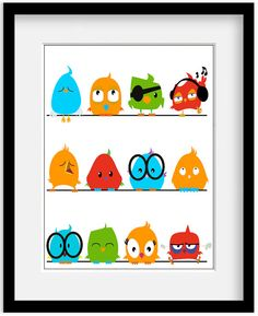 Quirky bright birds for baby's nursery bedroom in custom colors