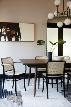 A neutral dining room