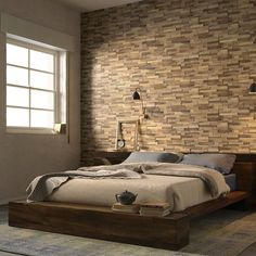 Wood Block Oak Effect Wall Tiles - Create a textured feature wall with these stunning tiles Wood Wall Tiles, Wall And Floor Tiles, Tile Bedroom, Bedroom Decor, Wood Effect Porcelain Tiles, Tiles Uk, Wood Blocks, Home Renovation, Decoration