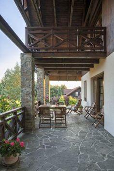 Taras, balkon, kamień, drewno