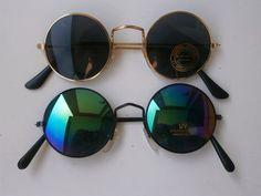 2er Set Sonnenbrillen im 70s Stil Hippie Goa Brille Retro rund Spiegel Rainbow