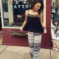Spring patterned pants and cut out tank