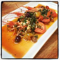 Spot Prawn Aqua Pazza with Capers, Olives and Cluentio EVOO. Photo by miloandolive