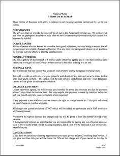 Maid Service: Sample Maid Service Agreement - cleaning contract ...