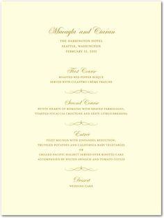 WeddingPaperDivas.com THERMOGRAPHY MENU CARDS ELEGANT ARDOR