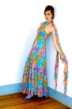 Vintage Maxi Dress 70s Psychedelic Colorful Chiffon Aqua Pink Yellow Orange Rainbow Halter Top Backless Swirl Pattern 1970s MAD MEN Gown