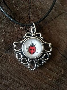 Silver Ladybug Charm Necklace Dainty Leather Chain Animal Fashion Jewelry